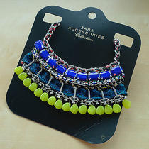 Zara Blue & Yellow Metallic Fabric Necklace With Stones Photo