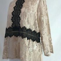 Zara Blush & Black Lace Sheer 3/4 Sleeve Top Size Large New Tagged K240 Photo
