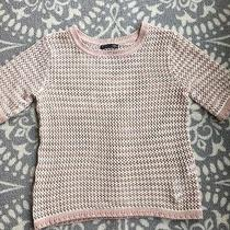 Zara Blush Cream Lightweight Fitted Knit Crewneck Sweater Top Large Photo
