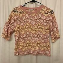 Zara Blush Pink Lemon Yellow Lace Flower Embroidered Boxy Lose Top Size S Nwot Photo