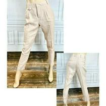 Zara Blush Pink Linen Carrot Leg Trousers Size Small Photo