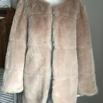 Zara Blush Pink Nude Faux Fur Coat Nwt Size Large Blogger Fave Photo
