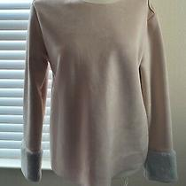 Zara Blush Pink/peach Suede Affect Jumper With Faux Fur Cuffs Size L Photo