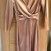 Zara Blush Pink Velvet Velour Wrap Eyelash Lace Pinup Dress 8 S  Photo
