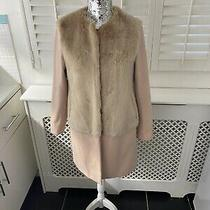 Zara Blush Pink Wool Faux Fur Coat Small Photo