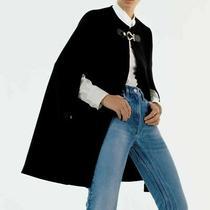 Zara Bnwt. Black Wool Cape Coat Blazer Buckle Size S. Ref. 4043/304 Photo