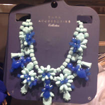 Zara Bnwt Blue Rhinestone Necklace 2014 Collection Photo