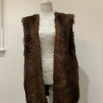 Zara Brown Faux Fur Sleeveless Jacket / Coat Size M Photo