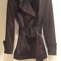 Zara Brown Satin Look Short Trench Coat Jacket Size S Photo