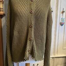 Zara Chunky Texture Knit Olive Green Cardigan Wooden Buttons Chevron L Photo