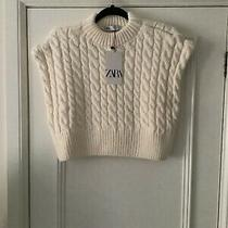 Zara Cream Cropped Cable Knit Vest Tank Top Size Med. Bnwt Photo