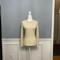 Zara Cream Sheer Knit Top Sweater Women's Small S Long Sleeves Ruffle Detail Photo
