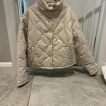 Zara Ecru High Neck Faux Leather Quilted Puffer Jacket Coat Size S Photo