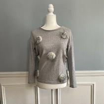 Zara Faux Fur Circle Sweater Women's Size Small Gray White Black Knit  Photo