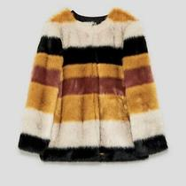 Zara Faux Fux Multi Colored Coat Size Xs Photo