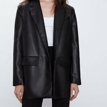 Zara Faux Leather Oversized Black Blazer Trf Bnwt. Size Xs. Photo