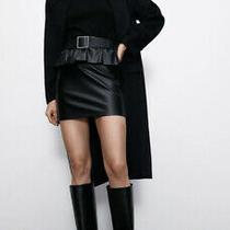 Zara Faux Leather Skirt Size Xs Black Bnwt Photo