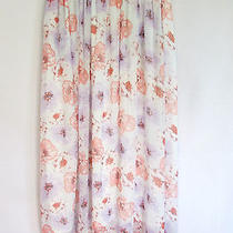 Zara Floral Skirt Sz M Purple Pink White Blue Flowing Poly Crepe Lined Stretch  Photo