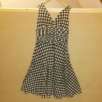 Zara Fully Lined a-Line Polka Dot Black/cream Dress Size l(12-14) Photo