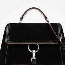 Zara Genuine Suede City Bag With Ring Details Bloggers Fav Bnwt M Black  Photo