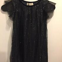 Zara Girls Soft Collection Black Glittery Dress Size 6-7 Years Photo