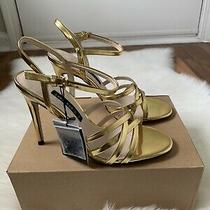 Zara Gold Strappy Sandals Shoes Size 38 New Photo