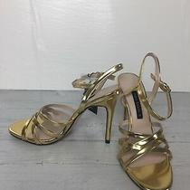 Zara Gold Strappy Sandals Shoes Size 8 New Photo