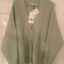 Zara Green Knit Cardigan With Patch Pockets Trf Uk M Bnwt Womens Knitwear New Photo