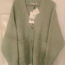 Zara Green Knit Cardigan With Patch Pockets Trf Uk S Bnwt Womens Knitwear New Photo