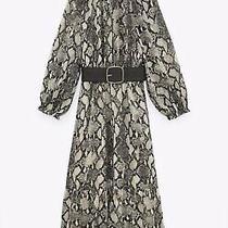 Zara Green Printed Midi Dress With Belt Size Xl (Rrp 49.99) Photo