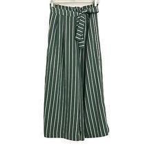 Zara Green Striped Wide Leg Cropped Pants Medium Paper Bag Tie Waist Pleats Photo
