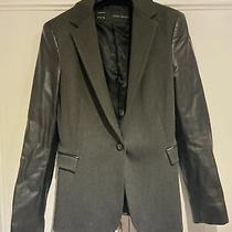 Zara Grey Blazer With Black Faux Leather Sleeves Size S Photo