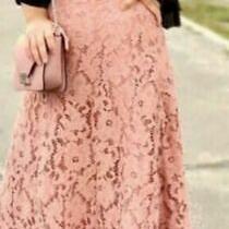 Zara Guipure Lace a Line Midi Skirt Size M Beige Pink Blush Nude Rrp 70 Long  Photo