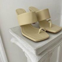 Zara Heeled Leather Sandals With Padded Strap Vanilla Yellow Size 7 Photo