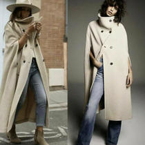 Zara High Collar Beige Taupe Wool Blend Cape Coat 8183/660 Photo