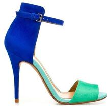 Zara High Heel Basic Suede Sandal Us 9 Eu 40 Uk 7 Blue Green Aqua Summer 2012 Photo