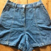 Zara High Waisted Denim Shorts 32 Waist Photo