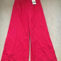 Zara Hot Pink Wide Legged Trousers Sz Xs Belt Hip Pockets Bnwts Photo