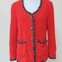Zara Jacket Piped Fantasy Cardigan Red Size Large Gently Worn Photo
