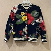 Zara Kids Girls Floral Print Snap Knit Bomber Jacket Size 7 Photo