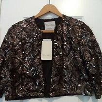 Zara Knit Ladies Jacket Med Black W Gold Sequins 3/4 S  Nwt Photo