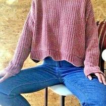 Zara Knit Sweater Large Blush Pink Chenille Like Chunky Knit Crop Photo