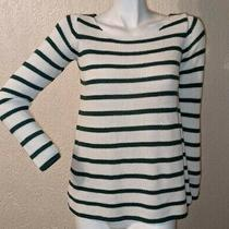 Zara Knit Womens White Green Striped Crochet Jumper Long Sleeve Pullover Small Photo