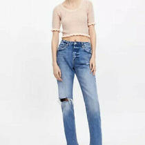 Zara Knitted Sheer Frill Crop Top Blush Pink Sz S Bnwt Photo