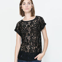 Zara Lace Detail Knit Blouse Top Tee T-Shirt White Black S M F/w 2013 Authentic Photo