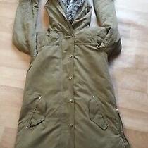 Zara  Ladies Green Parka Soft Khaki Coat Fur Trim Size Xs  Mex 24 Photo