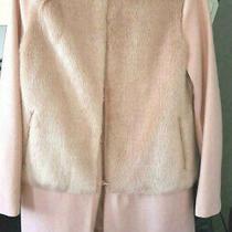 Zara Lana Wool Blush Pink Coat Size M (8-10uk) Faux Fur Stylish 95 Photo