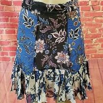 Zara Lined Printed Women's Blue Floral Ruffled Hem Skirt Size Small Photo
