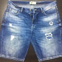 Zara Man Denim Dark Faded Ripped Denim Bermuda Shorts Distressed Nwot Photo