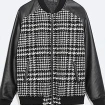 Zara Man Houndstooth Leather Sleeve Jacket Photo